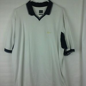 Nike Golf Shirt Polo XXL Short Sleeve White/Blue